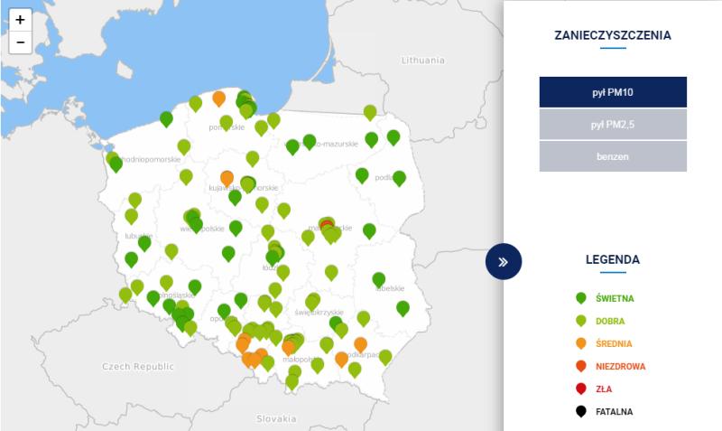 Stężenie pyłu PM10 w Polsce po godz. 12