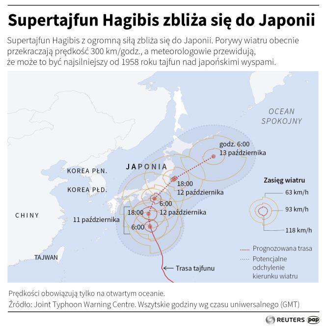 Prognozowana ścieżka przejścia tajfunu (Małgorzata Latos/PAP/Reuters)