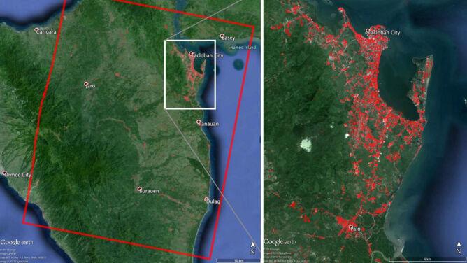Ogrom zniszczeń w Tacloban na mapach NASA. Supertajfun zmienił ukształtowanie terenu
