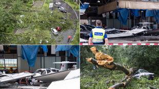 Zniszczona hala na lotnisku, powalone drzewa, chaos komunikacyjny w Zurychu